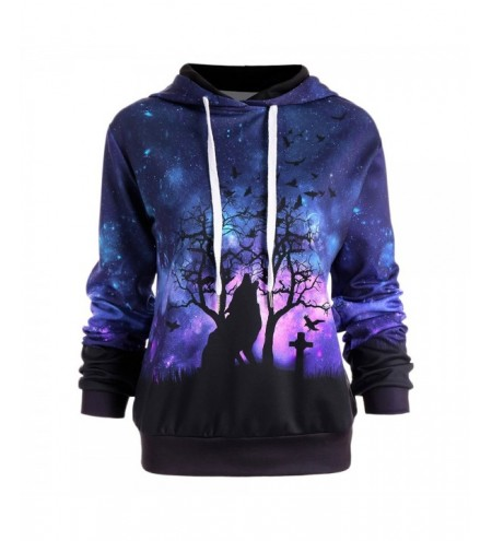 Halloween Galaxy and Wolf Print Drawstring Hoodie
