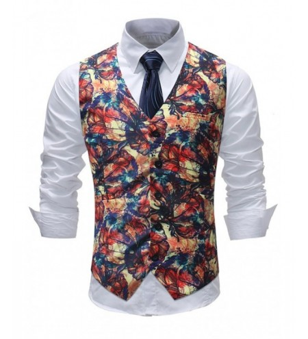 Paint Flower V Neck Single Breasted Waistcoat