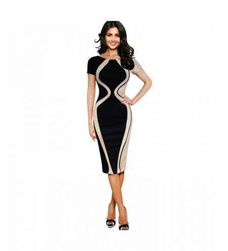 Women's Wear Five-Point Sleeve Stitching Stretch Fabric Fashion Dress