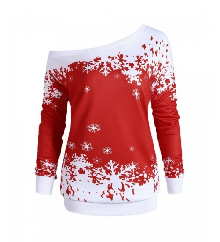 Plus Size One Shoulder Christmas Snowflake Sweatshirt