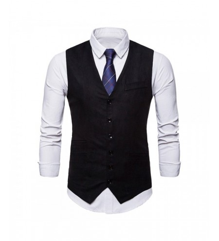 Solid Color V Neck Single Breasted Waistcoat