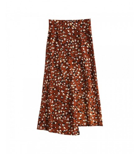 Skirt Asymmetric Hem Floral Print High Waist Split Bottoms for Women