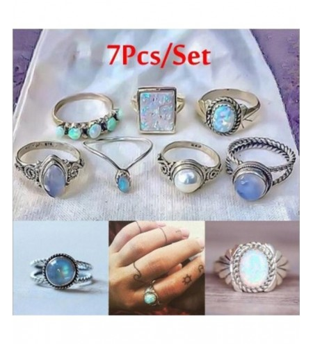 Set of 7 Pieces Women'S Fashion Colored Gem Pearl Ring Suit