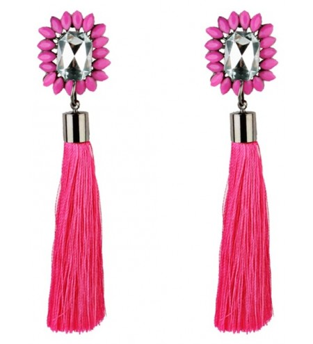 Vintage Rhinestone Embellished Long Tassel Earrings