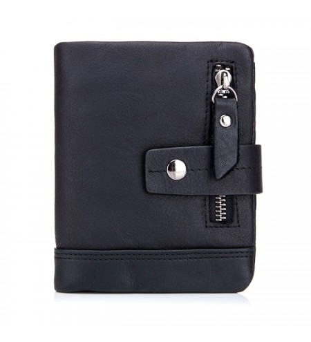 BULLCAPTAIN Trendy Genuine Leather Bifold Wallet with for Men