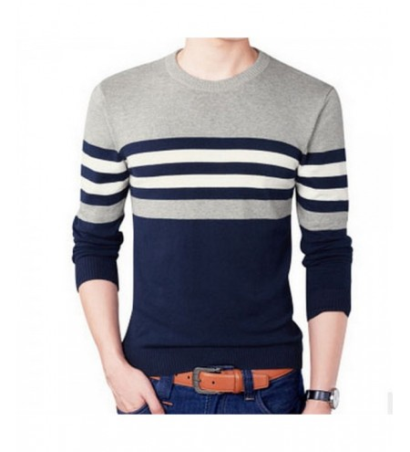 Round Collar Long Sleeve Stripe Plus Size Men Pullover Knitwear