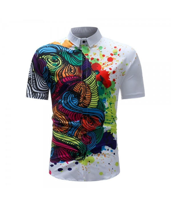 Men's Summer 3D Printed Short Sleeve Unique Flower Shirt