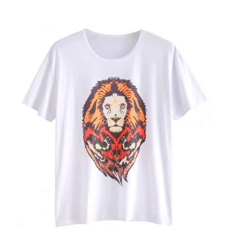 Short Sleeve Animal Lion Print T-shirt