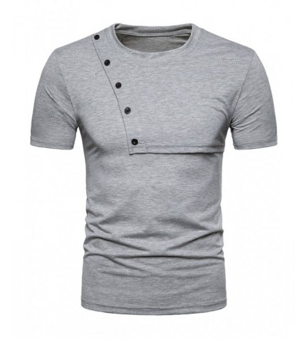 Button Design Solid Color Short Sleeve Tee