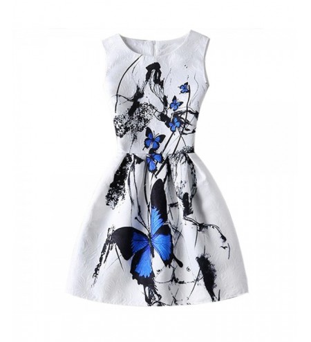 Women Graceful Butterfly Pattern High-waist Dress