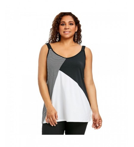 Plus Size V Neck Striped Tank Top