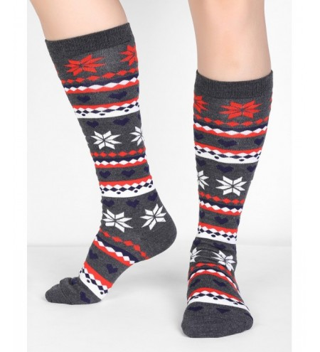 Christmas Snowflake Geometry Mid Calf Socks