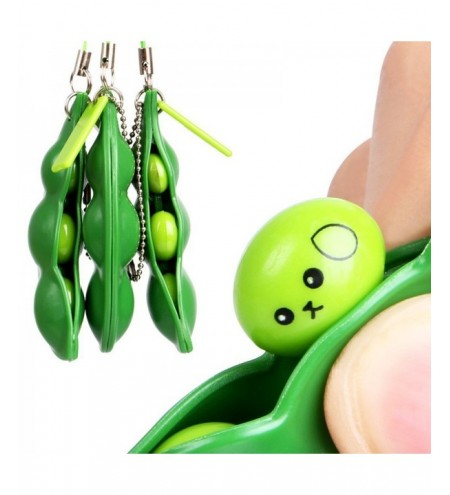 Squeeze-a-bean Pendant Keychain Stress Fidget Relieving Extrusion Toy 1pc