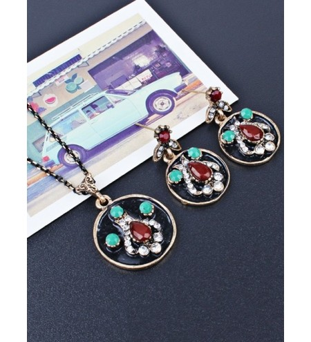 Faux Gem Teardrop Round Jewelry Set