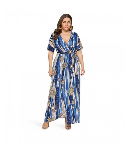 ZEZCLO Plus Size V Neck Floral Print Waist Strap Split Women Beach Long Dress