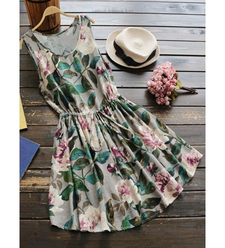 Drawstring Waist Sleeveless Floral Linen Dress
