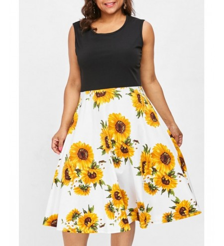 Sleeveless Plus Size Sunflower Print Vintage Dress