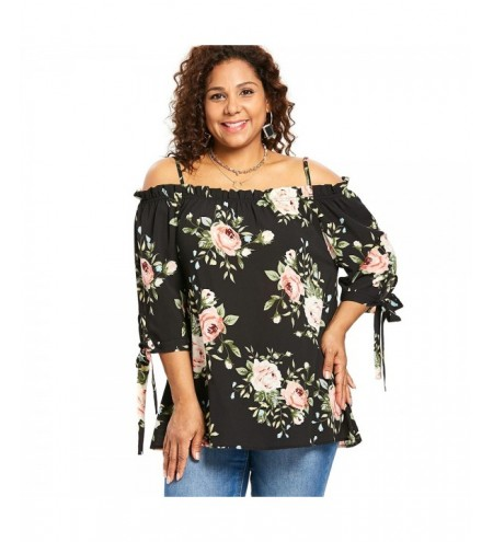 Plus Size Floral Tie Sleeve Blouse