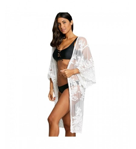 Lace Embroidered Sheer Kimono Cover Up