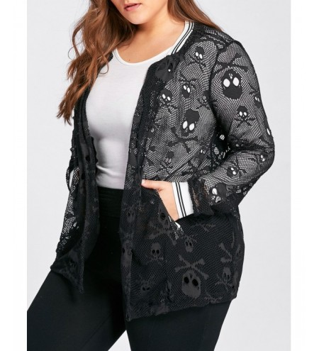 Plus Size Skull Openwork Collarless Jacket