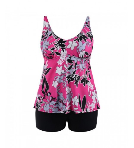 Floral Padded High Waisted Plus Size Tankini Set