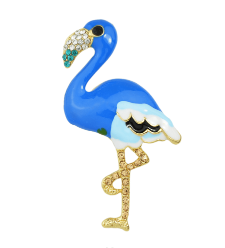 Bird Design Enamel Rhinestone Brooch
