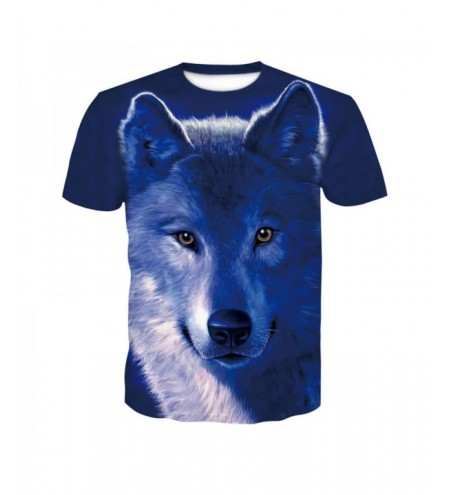 3D Wolves Print Men's Casual Short Sleeve Graphic T-shirt