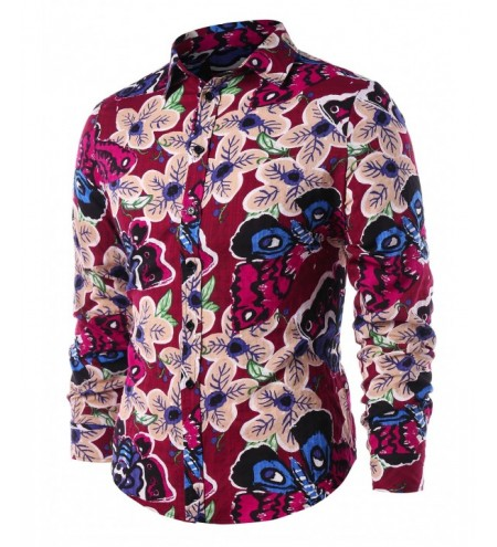 Butterfly Flower Print Button Up Shirt