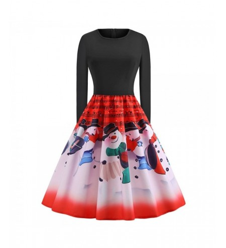 Plus Size Vintage High Waisted Christmas Graphic Dress