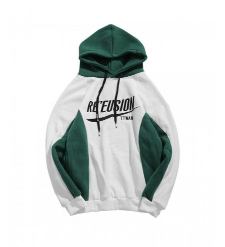 Contract Color Letter Printed Pullover Hoodie