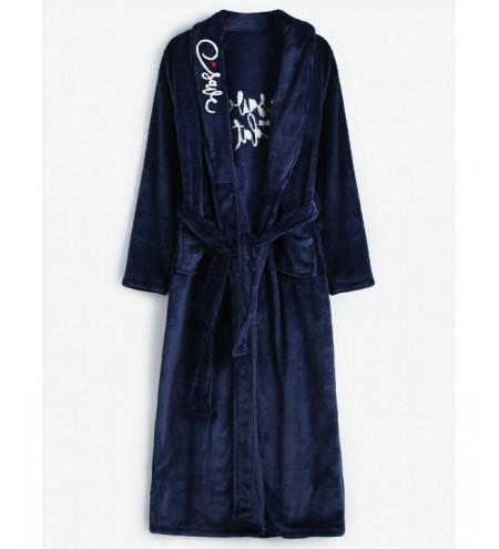 Embroidery Flannel Robe