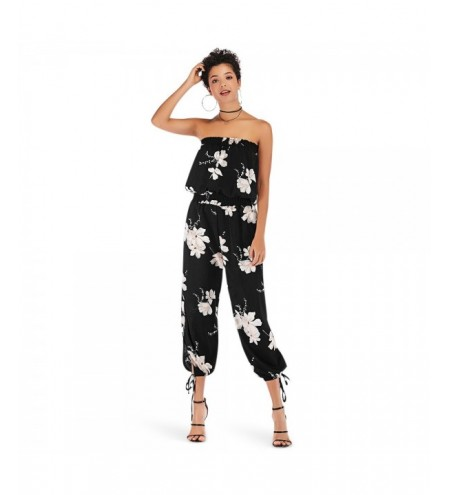 Off The Shoulder Backless Floral Print Chiffon Rompers for Women