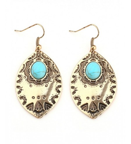 Bohemian Faux Turquoise Leaf Hook Earrings