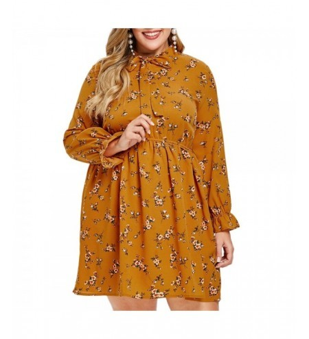 Plus Size Floral Flare Tie Collar Dress