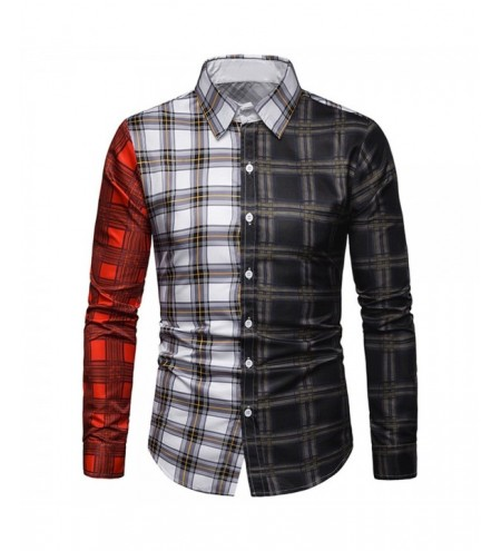 Long Sleeves Turn-down Collar Plaid Print Panel Shirt