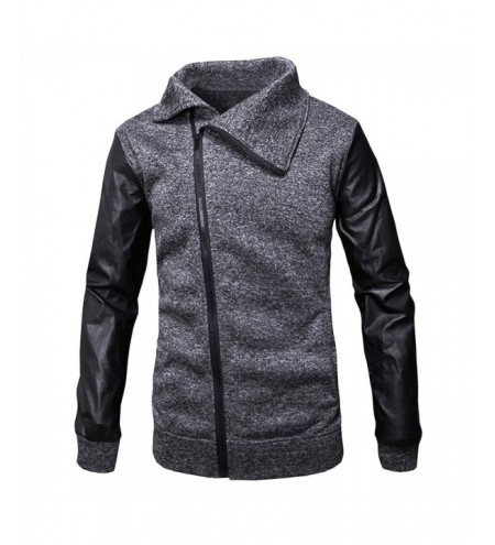 Slant Zipper Placket Casual Jacket