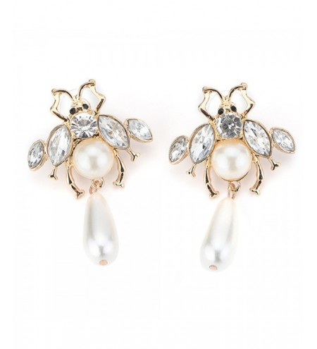Alloy Honeybee Rhinestone Inlaid Earrings