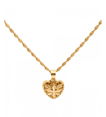 Ladies Gold Plated Hollow Out Heart Pendant Necklace
