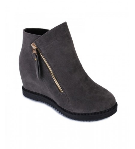 Gray Zipper Suede Ankle Slip-On Women Boots