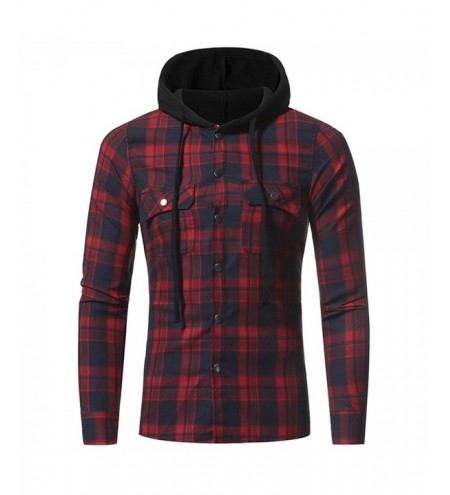 Large Lattice Double Pocket Hooded Casual Men's Plaid Long-Sleeved Shirt