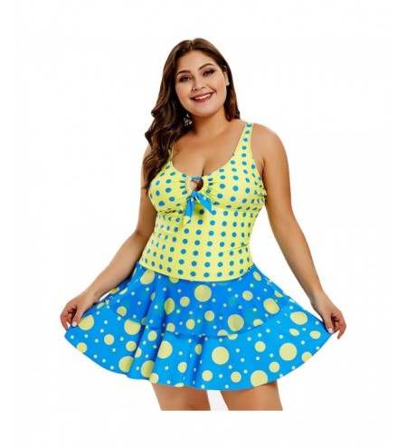 Plus Size Polka Dot Layered Flounce Panel Swimwear