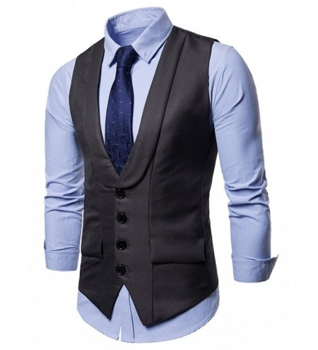 Layered Turndown Collar Slim Fit Vest