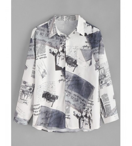 Vintage Newspaper Print Button Up Shirt