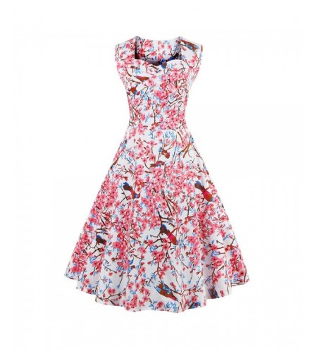 Sweetheart Neck Floral and Bird 50s Swing Dress