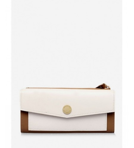 PU Leather Color Block Clutch Wallet