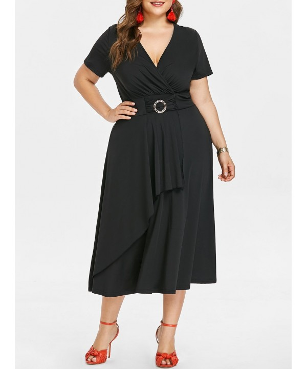Plus Size Plunging Neck Asymmetrical Dress