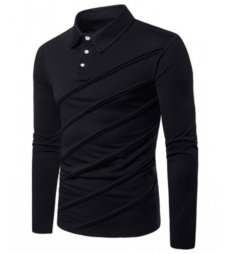 Spliced Fold Design Long Sleeve T Shirt