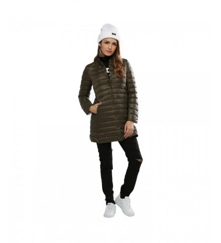 Chic Collarless Long Sleeve Single Breasted Solid Color Padded Coat for Women