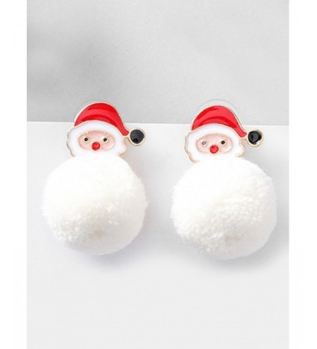 Christmas Fluffy Ball and Santa Printed Earrings