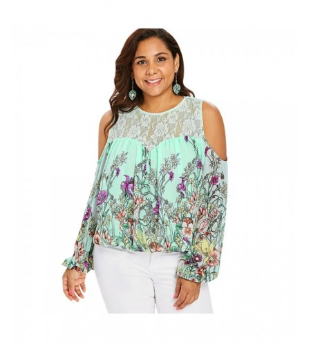 Plus Size Cold Shoulder Lace Trim Floral Sheer Blouse